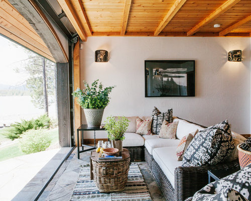 Inspiration For A Mid Sized Rustic Slate Floor And Blue Floor Sunroom  Remodel In Orange
