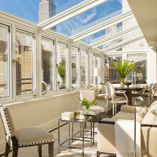 Example of a transitional sunroom design in New York