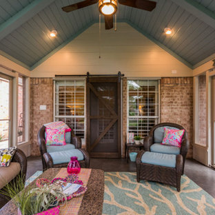 Mid-sized elegant concrete floor sunroom photo in Dallas with no fireplace and a standard ceiling