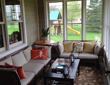 Ranch home addition with 3-season porch