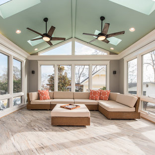 75 Most Popular Transitional Ceramic Floor Sunroom Design Ideas For