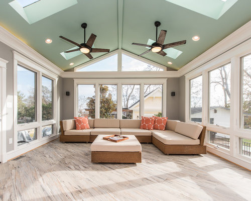 Large Transitional Ceramic Floor And Gray Floor Sunroom Idea In DC Metro  With A Skylight