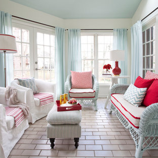 red white and blue sunroom