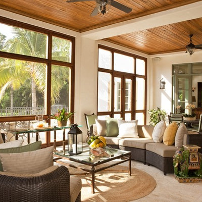 Inspiration for a mediterranean sunroom remodel in Miami with no fireplace and a standard ceiling