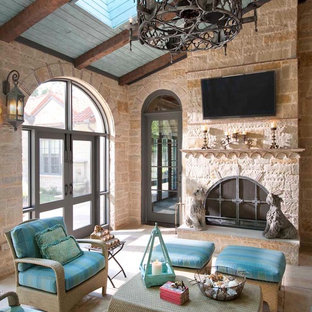 Example of a large tuscan sunroom design in Dallas