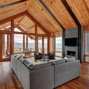 Esempio di una veranda rustica con camino lineare Ribbon e soffitto classico