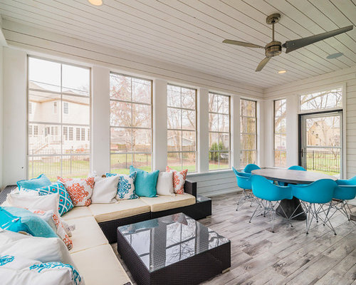 Houzz Mid Sized Transitional Sunroom Design Ideas