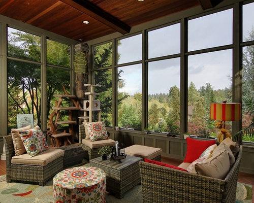 Rustic sunroom design ideas remodels photos houzz for Rustic sunrooms