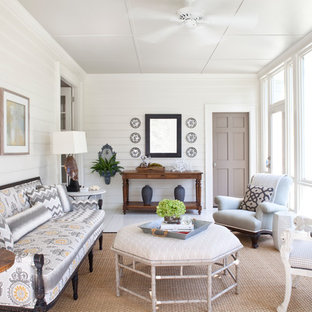 Design ideas for a mid-sized traditional sunroom in Atlanta with light hardwood floors, no fireplace, a standard ceiling and white floor.