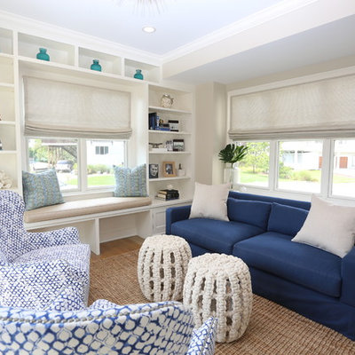 Mid-sized beach style light wood floor and beige floor sunroom photo in New York with no fireplace and a standard ceiling