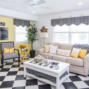 Esempio di una veranda eclettica di medie dimensioni con pavimento multicolore, pavimento in linoleum e soffitto classico