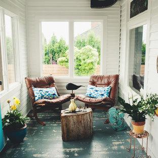 Small coastal blue floor sunroom photo in Seattle