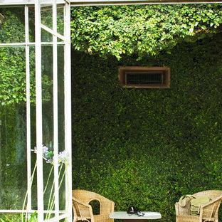Foto di una veranda minimalista di medie dimensioni con pavimento in terracotta, nessun camino, soffitto classico e pavimento marrone