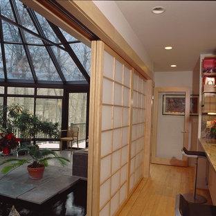 Shoji screens separate the kitchen and sunroom