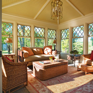 Photo of a traditional sunroom in Boston with a standard ceiling.