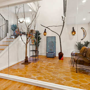 Mid-sized eclectic terra-cotta tile and brown floor sunroom photo in Boston with no fireplace and a standard ceiling