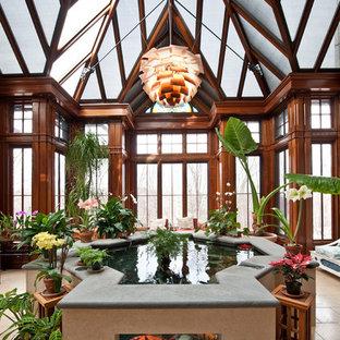 Diseño de galería clásica, extra grande, con techo de vidrio