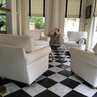 Esempio di una veranda minimal di medie dimensioni con pavimento in marmo, nessun camino, soffitto classico e pavimento multicolore