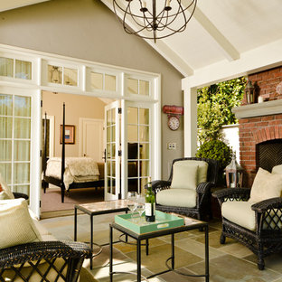 Inspiration for a craftsman sunroom remodel in San Francisco with a standard ceiling and a brick fireplace