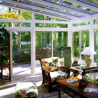Mid-sized island style ceramic tile sunroom photo in DC Metro with no fireplace and a glass ceiling