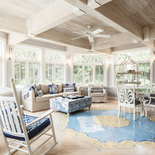 Example of a large farmhouse light wood floor sunroom design in Boston with no fireplace and a standard ceiling