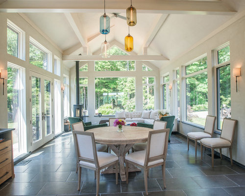 25 all time favorite farmhouse sunroom ideas houzz for Sunroom tile floor ideas