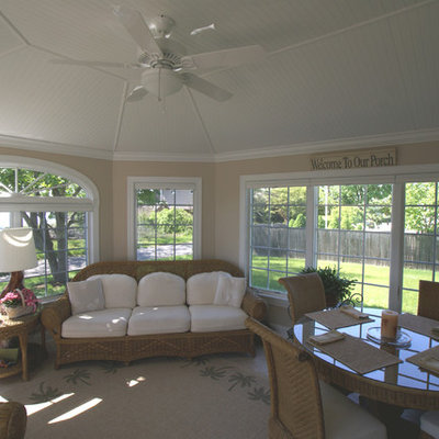 Sunroom - mid-sized coastal ceramic tile sunroom idea in New York with no fireplace and a standard ceiling