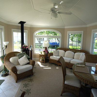 Inspiration for a mid-sized coastal ceramic tile sunroom remodel in New York with no fireplace and a standard ceiling