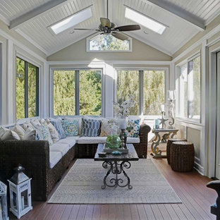 Mid-sized coastal brown floor sunroom photo in New York with a skylight