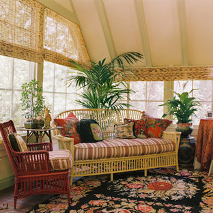 Example of a classic terra-cotta floor sunroom design in San Francisco with a standard ceiling