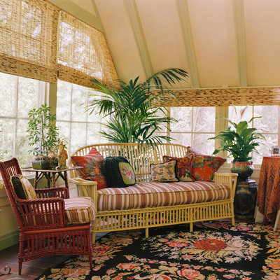 Example of a classic terra-cotta tile sunroom design in San Francisco with a standard ceiling