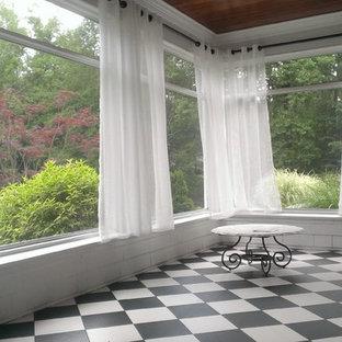 Esempio di una grande veranda chic con soffitto classico, pavimento in linoleum e pavimento multicolore