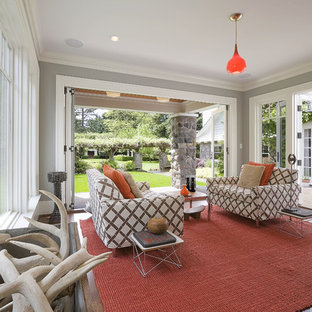 Inspiration for a timeless gray floor sunroom remodel in Portland with a standard ceiling
