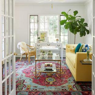 Sunroom - small coastal slate floor and black floor sunroom idea in Nashville with a standard ceiling