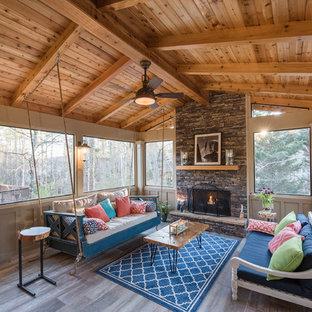 Foto di una veranda shabby-chic style