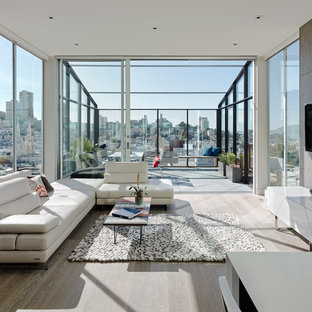 Inspiration for a contemporary sunroom remodel in San Francisco with a glass ceiling