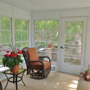 Inspiration pour une véranda traditionnelle de taille moyenne avec moquette, un plafond standard et un sol beige.