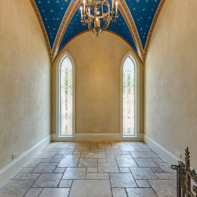 Example of a mid-sized tuscan terra-cotta tile and beige floor sunroom design in Austin with a standard ceiling