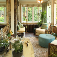 eclectic sunroom by Karen Gallagher Interiors