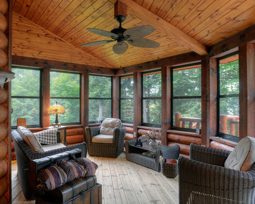 Log sunroom houzz for Log home sunrooms