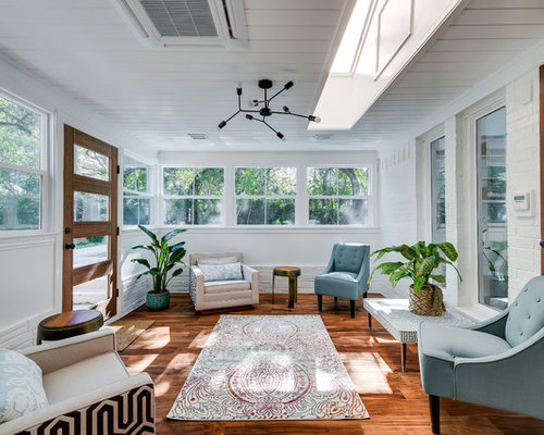 Example Of A Transitional Dark Wood Floor And Brown Floor Sunroom Design In  Austin With A