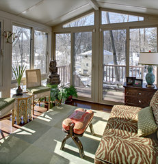 eclectic porch by Tracey Stephens Interior Design Inc