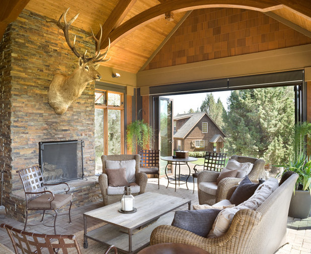 Rustic Sunroom by Alan Mascord Design Associates Inc