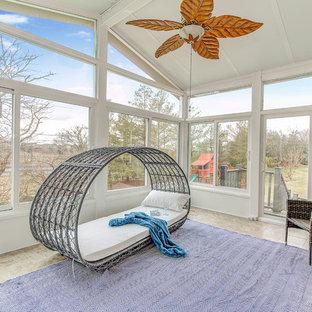 Idéer för mellanstora vintage uterum, med tak och beiget golv