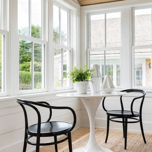 Sunroom - mid-sized coastal light wood floor and beige floor sunroom idea in Providence with no fireplace and a standard ceiling