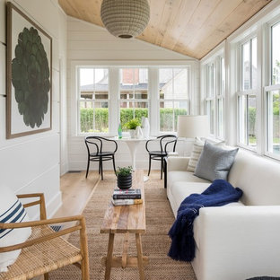 Mid-sized beach style light wood floor and beige floor sunroom photo in Providence with a standard ceiling and no fireplace