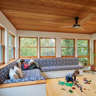Exemple d'une grand véranda tendance avec un sol en bois clair et un plafond standard.