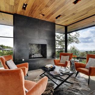 Idee per una veranda minimal con camino classico, cornice del camino in metallo e soffitto classico