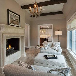 Exemple d'une petit véranda chic avec un sol en carrelage de céramique, une cheminée standard, un manteau de cheminée en béton, un plafond standard et un sol beige.