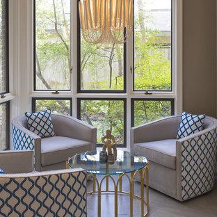 Idées déco pour une petit véranda éclectique avec un sol en carrelage de céramique, un plafond standard et un sol gris.
